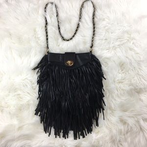 The Limited Fringe Crossbody Purse Black Bag